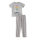 Voov Girls T-shirt With Pajama Set, Grey Melange - HDGLGPJ39C