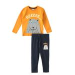 Genius Boys T-shirt With Pajama Set , Yellow/Navy - HDGLW20B2072