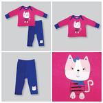 Smart Baby Baby Girls T-shirt With Pajama Set, Fuchsia/Blue -NCGS20PJG2D