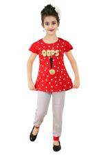 Genius Girls T-shirt With Pajama Set , Red/Grey - SNGSS2137315