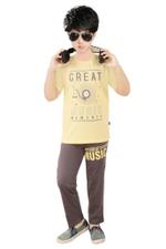 Genius Boys T-shirt With Pajama Set , Butter/Cocoa - SNGSS2137000