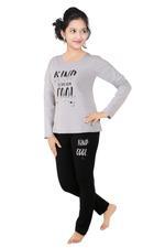 Genius Girls T-shirt With Pajama Set , Grey Melange/Black - SNGSS2137456