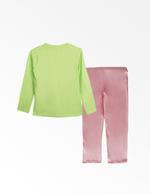 Garfield Girls T-shirt With Pyjama Set , Green/Pink - TCGLAW2011930