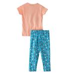 Voov Girls T-shirt With Pajama Set, Peach/Turquoise - HDGLGPJ25PEACH