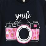 Voov Girls T-shirt With Pajama Set, Navy/Rose Red- HDGLGPJ26NAVY