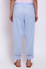 Biba Women Cotton Palazzo,Cyan Blue,BG15619BLU/L
