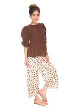 Le Crystal Girls Top With Palazzo Set,Coffee/Cream-MCGSS211801A