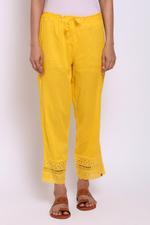 Biba Women Cotton Pants,YELlow,BG15619YEL/M
