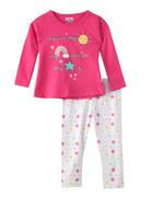 Smart Baby Baby Girls T-shirt With Full Pant Set , Coral/White - SNGAW2035271