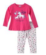 Smart Baby Baby Girls T-shirt With Full Pant Set , Fuchsia/White - SNGAW2036071