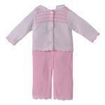 Smart Baby Baby Girls 2 Pc Set, White/ Pink-TIG3048030B