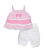 Little Kangaroos Baby Girl Top With Full Pant Set , Pink/White - ROGS2019869A
