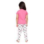 Genius Girls T-Shirt With Full Pant Set , Dark Pink/White - HDGLSS212204