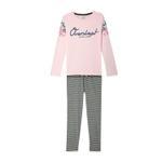 Genius Girls Full Sleeves T-Shirt With Full Pant Set , Pink/Grey - HDGLSS212245