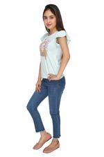 Genius Girls T-shirt With Denim Full Pant Set , Sky Blue/Denim Blue - MCGSS218880