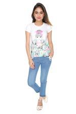 Genius Girls T-shirt With Denim Full Pant Set , White/Denim Blue - MCGSS218250