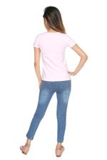 Genius Girls T-shirt With Denim Full Pant Set , Pink Stripe/Denim Blue - MCGSS218260