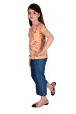 Genius Girls T-shirt With Denim Culottes Set , Peach/Denim Blue - MCGSS218900