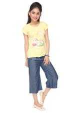 Genius Girls T-shirt With Denim Culottes Set , Yellow/Denim Blue - MCGSS218960