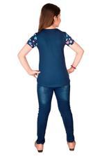 Genius Girls Top With Denim Full Pant Set , Navy/Denim Blue - MCGSS218940