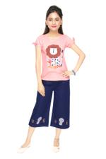 Genius Girls T-shirt With Denim Culottes Set , Peach/Denim Blue - MCGSS218950