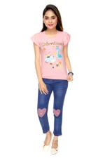 Genius Girls T-shirt With Denim Full Pant Set , Peach/Denim Blue - MCGSS218270