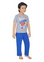 Genius Boys T-shirt With Full Pant Sets , Grey Melange/Royal Blue - SIMGS21251010