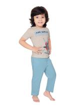 Genius Boys T-shirt With Full Pant Sets , Light Grey/Light Blue - SIMGS21251009