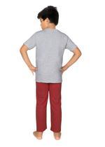 Genius Boys T-shirt With Full Pant Sets , Ecru Melange/Red Melange - SIMGS21251017