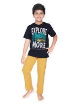 Genius Boys T-shirt With Full Pant Sets , Navy/Honey - SIMGS21251021