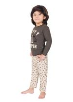 Genius Boys T-shirt With Full Pant Sets , Dark Grey/Light Grey - SIMGS21241057