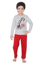 Genius Boys T-shirt With Full Pant Sets , Grey Melange/Red - SIMGS21241065