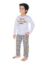 Genius Boys T-shirt With Full Pant Sets , White/Dark Grey - SIMGS21241061