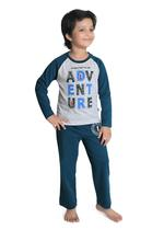 Genius Boys T-shirt With Full Pant Sets , Grey/Teal - SIMGS21241058