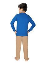 Genius Boys T-shirt With Full Pant Sets , Royal Blue/Light Khaki - SIMGS21241071