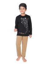 Genius Boys T-shirt With Full Pant Sets , Black/Light Khaki - SIMGS21241072