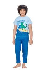 Genius Boys T-shirt With Full Pant Set , Powder Blue/Blue - HDGLSS21B2310