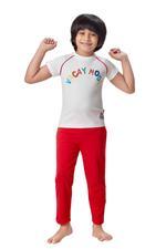Genius Boys T-shirt With Full Pant Set , White/Red - HDGLSS21B2316