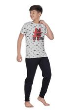 Genius Boys T-shirt With Full Pant Set , Grey/Black - HDGLSS21B2348