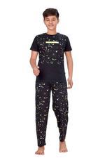 Genius Boys T-shirt With Full Pant Set , Black - HDGLSS21B2350
