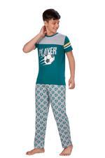 Genius Boys T-shirt With Full Pant Set , Green/Grey - HDGLSS21B2324
