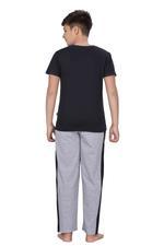 Genius Boys T-shirt With Full Pant Set , Black/Grey Melange - HDGLSS21B2336