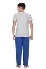 Genius Boys T-shirt With Full Pant Set , Grey Melange/Royal Blue - HDGLSS21B2326