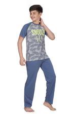 Genius Boys T-shirt With Full Pant Set , Grey/Ash Blue - HDGLSS21B2342