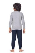 Genius Boys T-shirt With Full Pant Set , Grey Melange/Black - HDGLSS21B2305