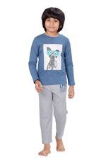 Genius Boys T-shirt With Full Pant Set , Ash Blue/Grey Melange - HDGLSS21B2319