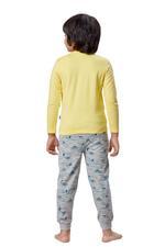 Genius Boys T-shirt With Full Pant Set , Yellow/Grey Melange - HDGLSS21B2313