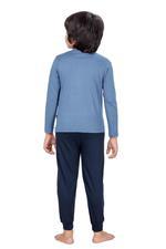 Genius Boys T-shirt With Full Pant Set , Airforce/Black - HDGLSS21B2317