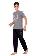 Genius Boys T-shirt With Full Pant Set , Charcoal/Black - HDGLSS21B2330