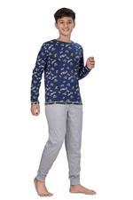 Genius Boys T-shirt With Full Pant Set , Navy/Grey Melange - HDGLSS21B2345